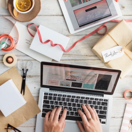 woman crafting and blogging, how to start a blog for your business