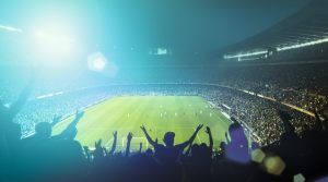 fans cheering at a stadium